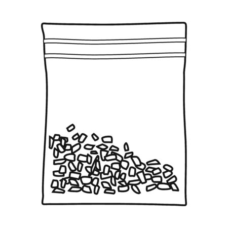 Vector illustration of bag and marijuana logo. Web element of bag and sack stock symbol for web. 向量圖像