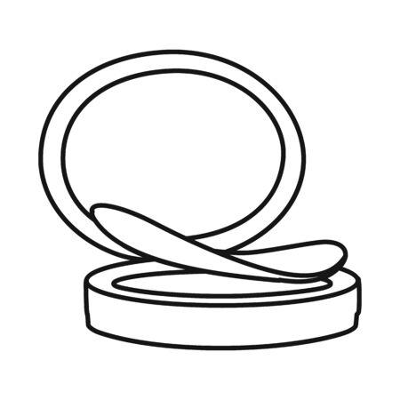 Vector design of mirror and puff-box symbol. Graphic of mirror and blusher stock symbol for web. Vektorgrafik