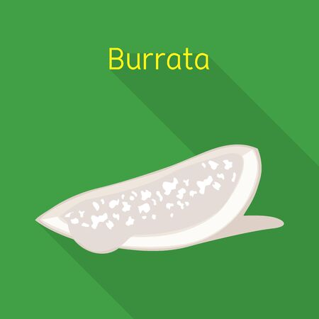 Isolated object of cheese and burrata logo. Graphic of cheese and piece stock symbol for web. 向量圖像
