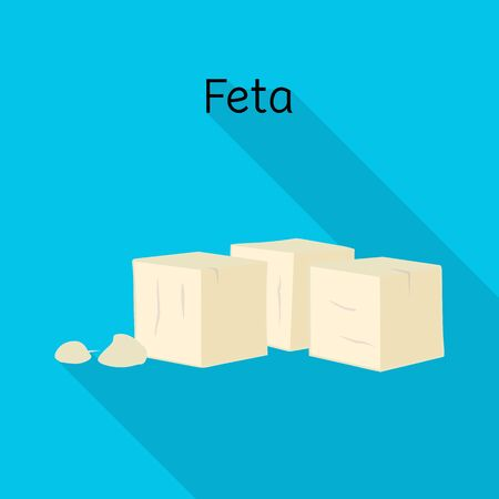 Vector design of cheese and feta logo. Graphic of cheese and piece stock symbol for web.