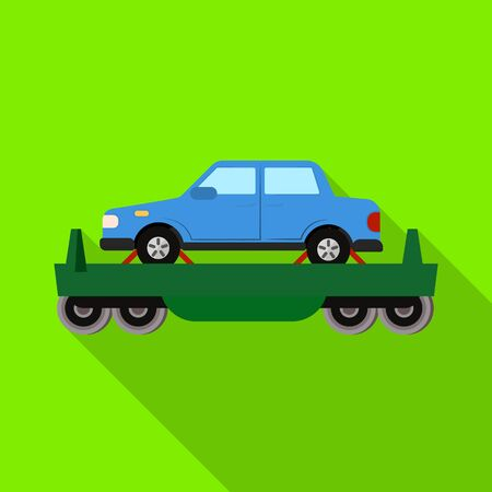 Isolated object of wagon and cargo logo. Web element of wagon and vehicle vector icon for stock.