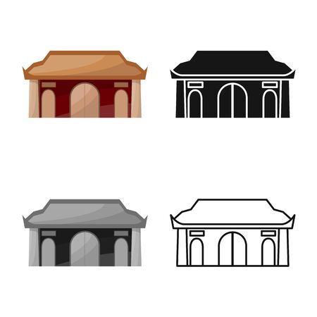 Vector design of temple and hanoi icon. Set of temple and vietnamese stock vector illustration. 向量圖像