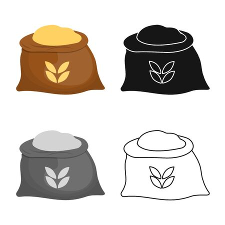 Vector illustration of bag and flour logo. Collection of bag and wheat stock symbol for web.