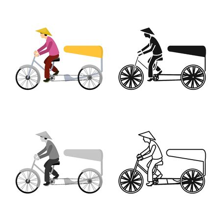 Vector design of bike and transport logo. Set of bike and bicycle stock symbol for web.