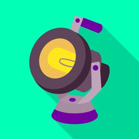 Vector illustration of spotlight and equipment icon. Web element of spotlight and bright stock vector illustration. 向量圖像