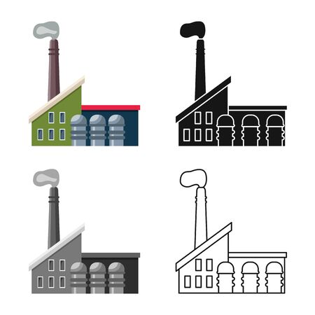 Vector illustration of factory and manufacture logo. Set of factory and pipe stock symbol for web.