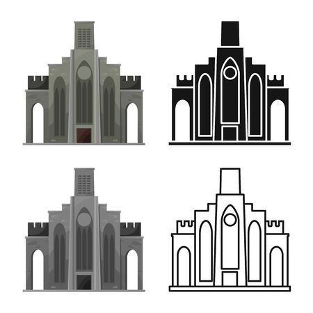 Isolated object of building and vietnam sign. Set of building and palace vector icon for stock.