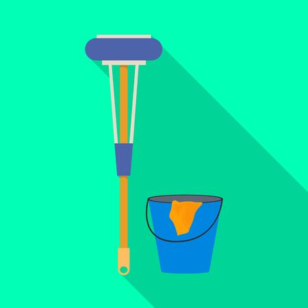 Vector design of bucket and broom sign. Set of bucket and mop stock symbol for web. 向量圖像