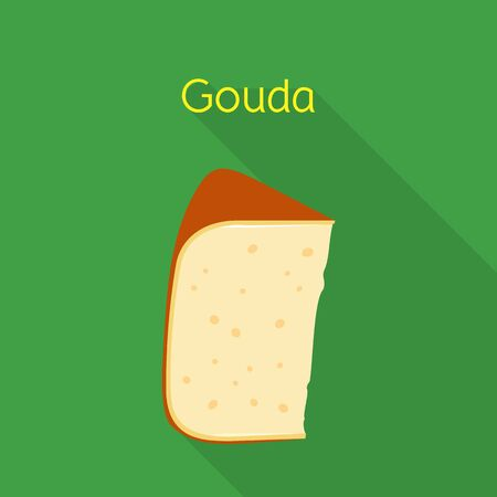 Isolated object of cheese and gouda logo. Graphic of cheese and slice stock vector illustration. 向量圖像