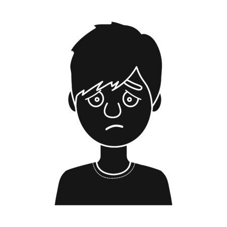 Vector illustration of guy and sad logo. Set of guy and expressing stock vector illustration.