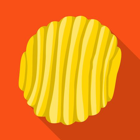 Isolated object of chip and fluted sign. Graphic of chip and healthy vector icon for stock. Иллюстрация