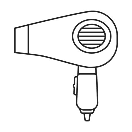 Hair dryer vector icon.Outline,line vector icon isolated on white background hair dryer .