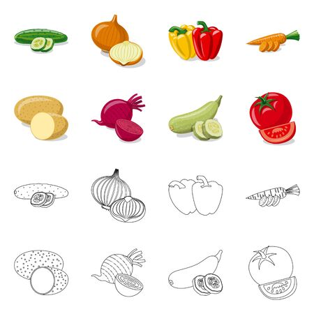 Vector design of vegetable and fruit logo. Collection of vegetable and vegetarian vector icon for stock.