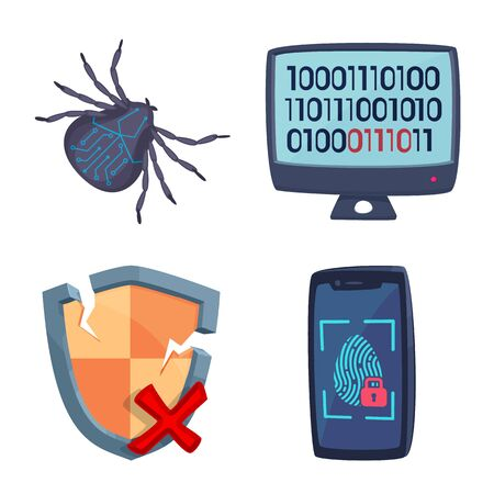 Isolated object of virus and secure sign. Set of virus and cyber stock vector illustration. Ilustracja
