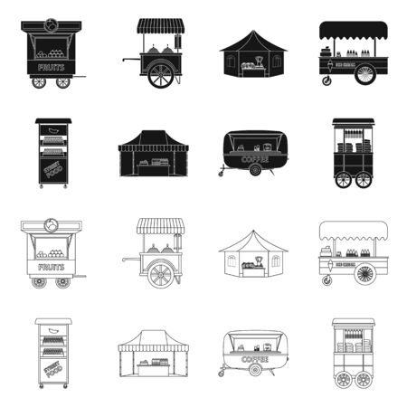 Vector design of market and exterior symbol. Collection of market and food stock vector illustration.