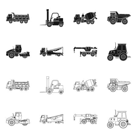 Vector design of build and construction icon. Collection of build and machinery stock vector illustration.