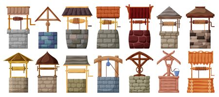 Water well vector cartoon set icon.Vector illustration wooden and stones wellspring on white background . Isolated cartoon set icon water well. Ilustração