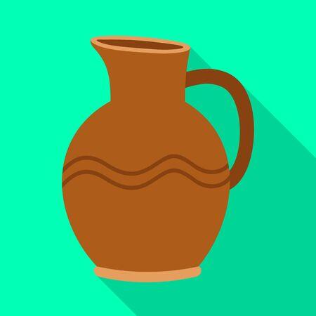 Diseño vectorial de jarra y letrero de arcilla. Elemento web de jarra e icono de vector de cerámica para stock. Ilustración de vector