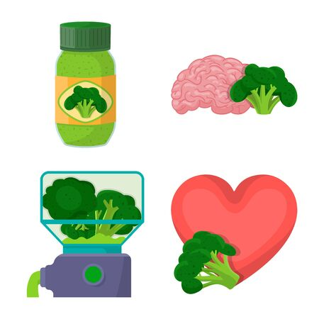 Vector design of eating and diet symbol. Collection of eating and healthy vector icon for stock.