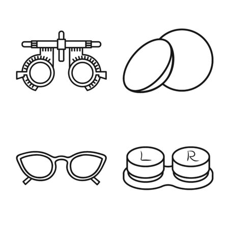 Vector illustration of correction and optometry icon. Set of correction and vision stock symbol for web.