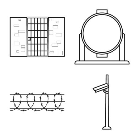 Isolated object of jail and law sign. jail and crime stock symbol for web. Illustration