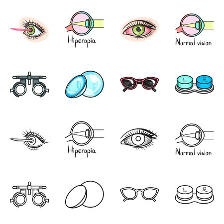 Isolated object of optometry and medicine symbol. Collection of optometry and diagnostic stock symbol for web.