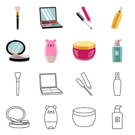 Vector design of makeup and product sign. Collection of makeup and cosmetology vector icon for stock. Ilustracja