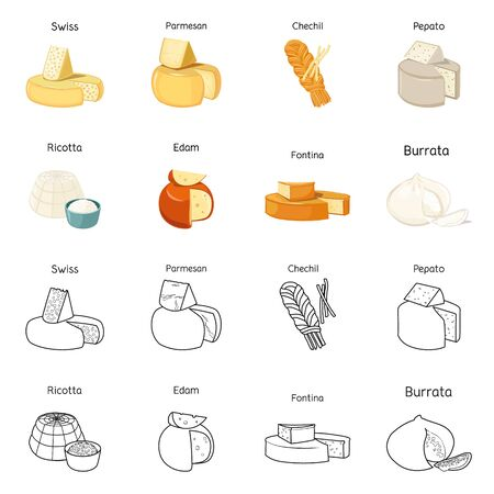 Isolated object of food and dairy symbol. Collection of food and product stock symbol for web. Ilustracja