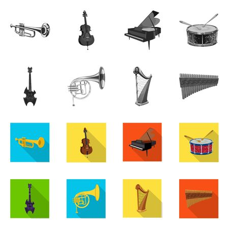 Vector design of music and tune sign. Collection of music and tool stock symbol for web. Ilustracja