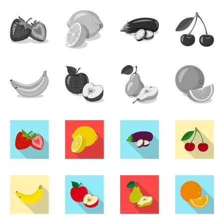 Vector design of vegetable and fruit symbol. Collection of vegetable and vegetarian vector icon for stock.