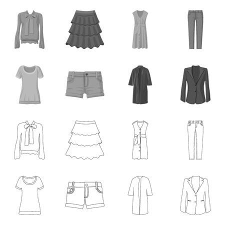 Vector illustration of woman and clothing logo. Collection of woman and wear stock vector illustration. Ilustracja