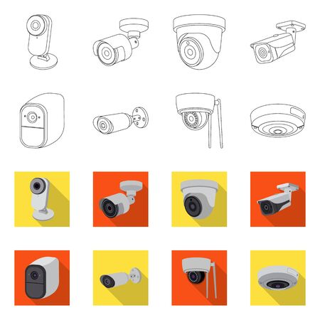 Isolated object of cctv and camera icon. Collection of cctv and system stock symbol for web. Ilustracja