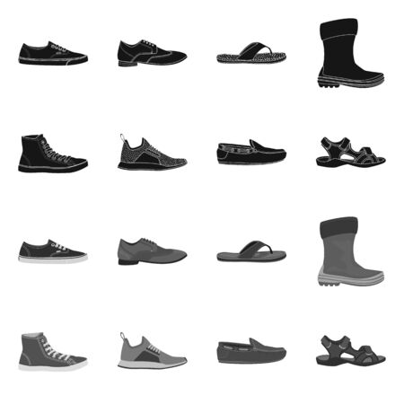Isolated object of shoe and footwear symbol. Collection of shoe and foot stock vector illustration.