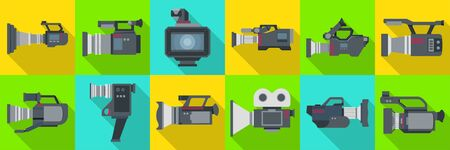 Video camera flat vector illustration on white background .Video camera set icon. Vector illustration camcorder for photo and film.
