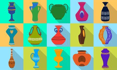 Vase for flower flat vector illustration on white background . Pottery vase set icon.Vector illustration set icon ceramic pot and jug.