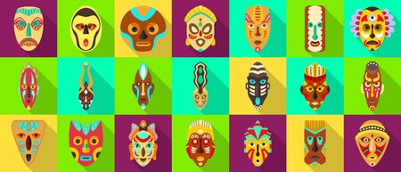 African mask flat set icon.tribal African mask flat vector illustration on white background .Vector illustration set icon face voodoo.