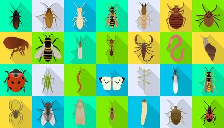 Bug of insect vector flat set icon.Vector illustration insect beetle. Isolated flat icon bug and fly beetle.