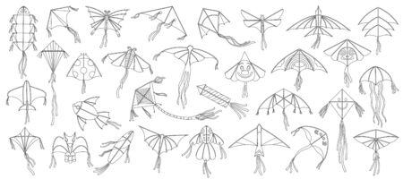 Flying kite vector illustration on white background .Festival kites ouline set icon.Isolated ouline set icon flying kite.