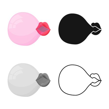 Isolated object of lips and bubble logo. Graphic of lips and chewing stock vector illustration.