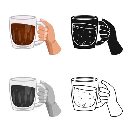 Isolated object of hand and mug sign. Web element of hand and beer stock symbol for web.