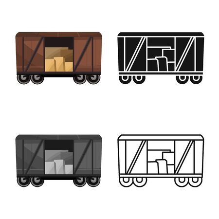 Vector design of wagon and cargo icon. Graphic of wagon and boxcar stock vector illustration.