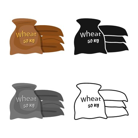 Vector design of bag and grain symbol. Set of bag and wheat stock symbol for web.