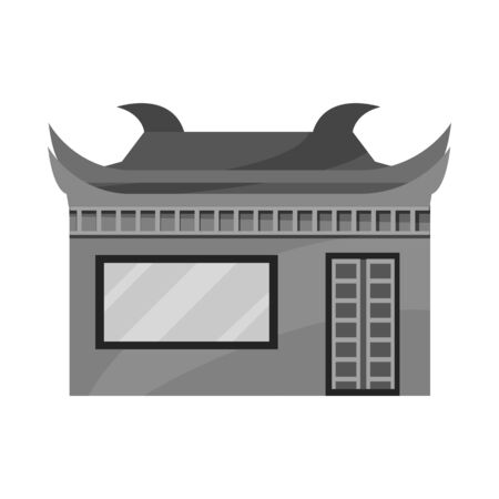 Isolated object of temple and hanoi sign. Collection of temple and vietnamese stock symbol for web.