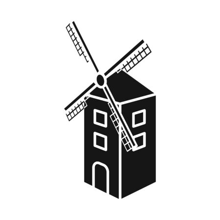 Vector design of mill and wheat sign. Set of mill and windmill vector icon for stock.