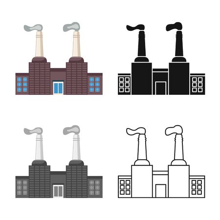 Vector illustration of factory and engineering logo. Collection of factory and chimney stock vector illustration.