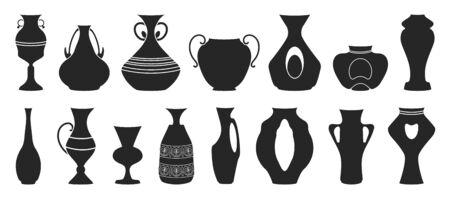 Vase for flower black vector illustration on white background . Pottery vase set icon.Vector illustration set icon ceramic pot and jug.