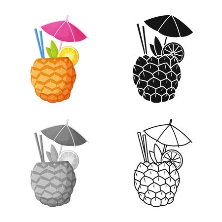 Vector design of cocktail and umbrella logo. Graphic of cocktail and ananas stock vector illustration.