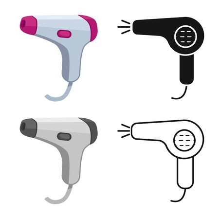 Vector illustration of dryer and hairdryer logo. Set of dryer and blower stock vector illustration.
