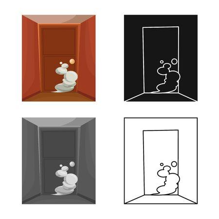 Vector illustration of door and smoke symbol. Set of door and exit stock vector illustration.