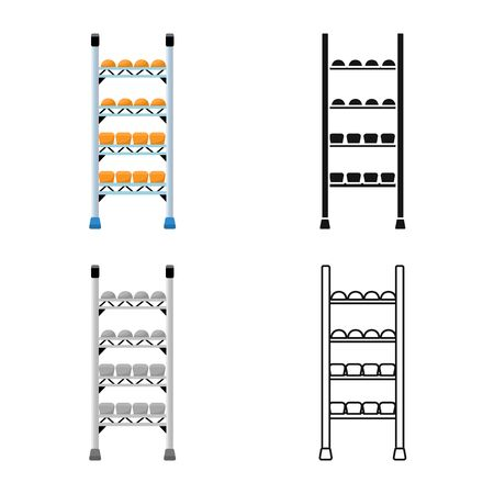 Isolated object of rack and bread symbol. Set of rack and furniture vector icon for stock.